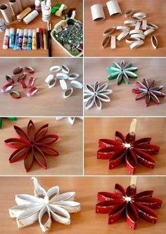 Make unusual Christmas decorations yourself - 42 craft ideas with .- Ausgefallene Weihnachtsdeko selber machen – 42 Bastelideen mit Klopapierrollen Poinsettias with dancers make fancy christmas decoration yourself - Christmas Toilet Paper, Toilet Paper Roll Crafts, Diy Christmas Ornaments, Diy Paper, Paper Crafting, Christmas Projects, Christmas Stars, Christmas Ideas, Diy Christmas Decorations With Toilet Rolls