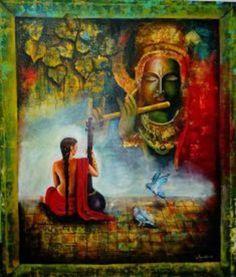 Buy Painting Krishna Aur Meera Artwork No 9476 by Indian Artist Arjun Das Esoteric Art, Krishna Painting, Buddha Art, Indian Artist, Acrylic Canvas, Buy Paintings, Art Auction, Figure Painting, Vintage Art