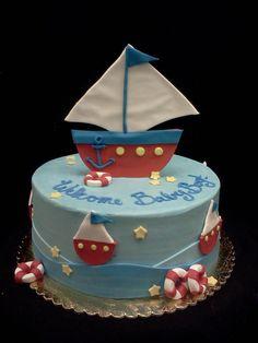 sailboat baby shower cake: facebook.com/terrycakessparks