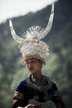 Miao minority wedding crown.
