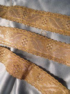 "Trim gold metallic  RARE :  483 "" French antique passementery  19th-century"