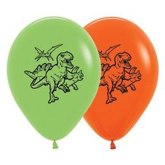 Dinosaur Balloons Lime Green and Orange 30cm – Dinosaurs Galore
