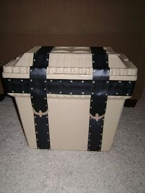 (Styrofoam Ice Chest) Treasure Chest with a little paint, leather and lined with velvet:  Just A Frugal Mom