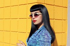 Vintage Hairstyles With Bangs Jasmin of Vintage Vandalism wearing Aurora sunglasses in Daughter of Pearl from Leith x Warby Parker - Retro Hairstyles, Hairstyles With Bangs, Vintage Bangs, V Bangs, Textured Bangs, Rockabilly Hair, Bombshell Beauty, Rose Colored Glasses, Tape In Hair Extensions