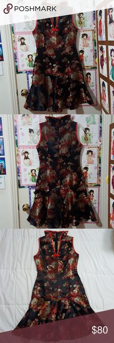 Rare Mandarin Chinese Cheongsam Qipao Red Black Worn few times, some minor fraying but not noticeable when worn, in very good condition. Embroidered floral design, empire empress collar, V neck cut, hidden back zipper, sleeveless, flare out skater bottom skirt accentuates waist, gives S shape curve, fitted bust, little stretch. tag: gold silver dragon Asian silky silk New Years Year party unique vintage modern traditional oriental cheong sam A-line A line tea ceremony wedding reception…