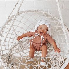 Baby giggles are the best (and not to mention, so infectious 😝) Tap to shop Prim & Proper Romper 👆🏻 Hanging Chair, Bassinet, Good Things, Photo And Video, Kids, Baby, Romper, Instagram, Shop