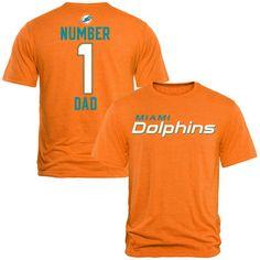 Miami Dolphins Pro Line #1 Dad Tri-Blend T-Shirt - Tennessee Orange