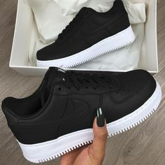 brand new 10929 7074c Nike Air Force 1 Trainers in Black and White. The 1982 phenomena that is  the Nike Air Force 1 touches down at Footasylum with the upper looking  resplendent ...