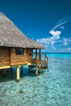 Over-water bungalows at Kia Ora, Tahiti