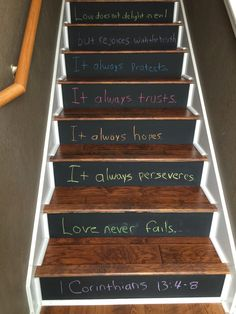 Engineered Hardwood Stairs & Blackboard Paint Stair Risers.  This is a project I just completed in our home. Bottom of Stairs.
