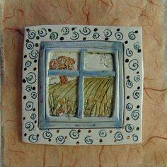 Robin Wade  10cm Landscape Panel (2007)  Miniature window plaque. Painted porcelain mounted on silk paper enhanced with lustre detail.    Tile 10cm square  Porcelain