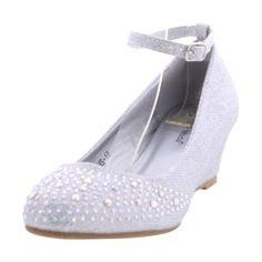 Top Moda - Women's Mini Glitter With Ankle Strap Wedge - Silver