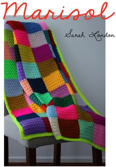love this one and I love all of Sara Londons work Crochet Square Blanket, Crochet Pillow, Afghan Crochet Patterns, Knitted Afghans, Crochet Granny, Crochet Motif, Crochet Baby, Knit Crochet, Crochet Afgans