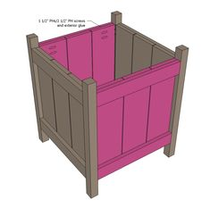 CUT LIST 10 - @ 5 - @ 4 - @ 23 12 - cedar fence pickets @ 17 long (shortened by from diagrams to allow for saw blade width and dog eared end) Planter Box Plans, Cedar Planter Box, Garden Planter Boxes, Diy Wooden Planters, Modern Planters, Wooden Diy, Ana White, Outdoor Projects, Easy Diy Projects
