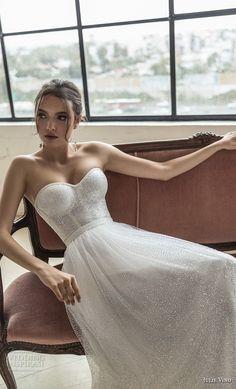 julie vino 2019 romanzo bridal strapless sweetheart neckline full embellishment bustier romantic a line wedding dress short train (2) zv