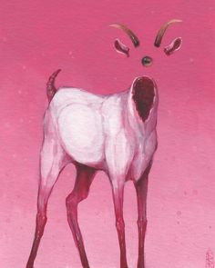 """""""thegoat// gouache painting on paper inches)"""" Kunst Inspo, Art Inspo, Creepy Art, Weird Art, Art And Illustration, Art Sketches, Art Drawings, Arte Obscura, Psychedelic Art"""