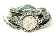Monogram Orante Jewelry Silk Wrap Bracelet by BijouBands on Etsy