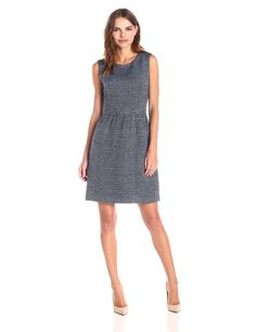 Lark & Ro Women's Sleeveless Tweed Fit-and-Flare Dress at Amazon Women's Clothing store: