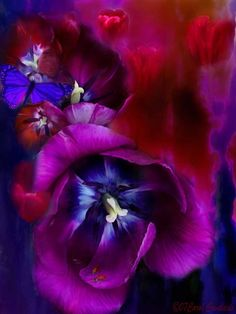Tulips  of blushing red,  passionate purple,  and true blue  Every bloom saying  I love you.    Prose by Carol Cavalaris © 07