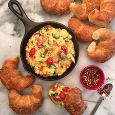 It's been a busy but very positive couple of weeks... got up this morning and the fridge was a little bare. So, emptied out the veggie drawer into some scrambled eggs and enjoyed mini croissant sandwiches. Have an awesome day! @zimmysnook