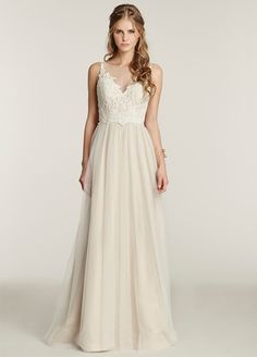 Romantic Ivory / Cashmere English Net A-line bridal gown. Ivory floral lace bodice with a soft illusion V-neckline front and open V-back, natural waist. Bridal Gowns, Wedding Dresses from Ti Adora by Alvina Valenta - JLM Couture - Bridal Style 7553 by JLM Couture, Inc.