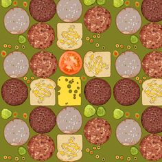 Salami and Cheese Samwiches fabric by eve_s on Spoonflower - custom fabric