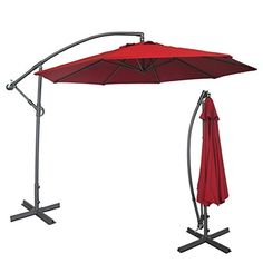 Abba Patio Deluxe 10 Ft Adjustable Offset Cantilever Hanging Patio Umbrella  With Cross Base And Crank, UV Resistant, Water Resistant PU Coated  Polyester, ...