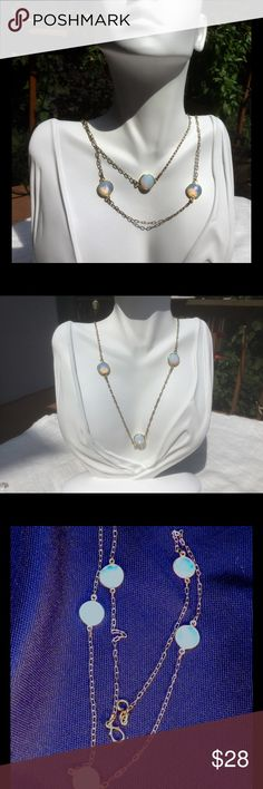 """Opalite Gemstone  Stationary Necklace 10 mm Opalite Gemstone Stationary  24"""" Necklace. Gold-Filled Chain. Jewelry Necklaces"""