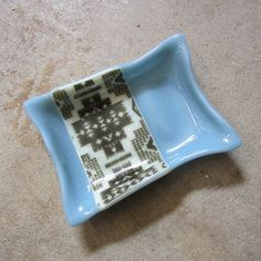 Blue Soap Dish Fused Glass Soap Dish Blue by mediumstomasses, $25.00