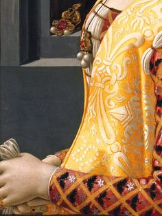 Giovanna Tornabuoni (detail), by Domenico Ghirlandaio (Italian, Medieval Costume, Medieval Art, Italian Renaissance, Renaissance Art, Art With Meaning, Italian Outfits, Medieval Clothing, Old Paintings, Detail Art
