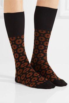 Marni - Intarsia Cotton-blend Socks - Brown - EU3