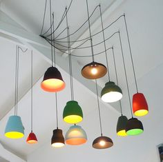 Why have one lamp when you can have twelve? Cool Lighting, Lighting Design, Pendant Lighting, Pendant Lamps, Lighting Ideas, Chandelier, Light Pendant, Mini Pendant, Deco Luminaire