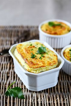 Soufflé de pommes de terre au fromage et aux herbes (Potato souffle with cheese and herbs)  But is my French still good enough to try cooking a recipe?  And is my math good enough to convert measurements from metric?