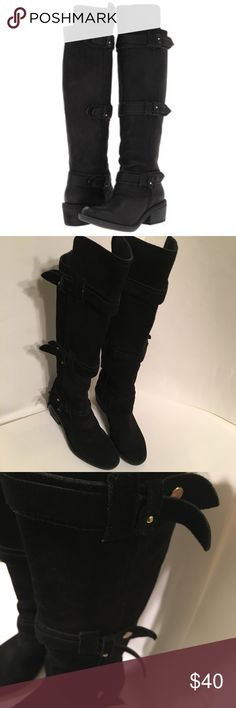 Calvin Klein Jeans Gem Boot Black Suede - 6.5 These boots rock and are super comfy.  High fashion military look.  #rhythmnation Slams with just about everything! All suede upper. Interior is denim.  Yes denim.  Button details In tact but tabs are curved instead of flat like stock photo. A natural progression.  Rarely worn. A little busy fir my petite shape.  About 2 inch heel. Calvin Klein Jeans Shoes Over the Knee Boots