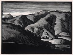 """Point Sur"" - Paul Landacre - Wood Engraving - 1931 by Thomas Shahan 3, via Flickr"