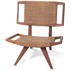 """Paul Laszlo chair, by Glenn of California, bleached mahogany frame with original caned seat and back, original finish, 29""""w x 26""""d x 32""""h, excellent condition"""