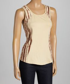 Another great find on #zulily! Cream Tie-Dye Lines Scoop Neck Tank #zulilyfinds