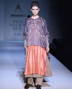 Embroidered Ash Gray and Peach Double Layered Kurta Set