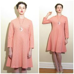 Vintage 1960s Day Dress in Orange and White Geometric Print / 60s A Line Long Sleeved Dress / Medium by BasyaBerkman on Etsy