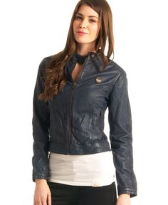£59.99 Save 52% on Superdry Women's Basic Biker Leather Jacket Navy