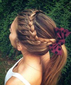 Stunning Braided Ponytail Hairstyles 2020 150 Stunning Braided Ponytail Hairdo for Enchanting Appearance Pretty Hairstyles, Braided Hairstyles, Braided Ponytail, Braids Into Ponytail, Cute Cheer Hairstyles, Girl Hairstyles, Volleyball Hairstyles, Hairstyles 2018, School Hairstyles