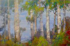 Birches and Lake 24x36  painting original collectors by cmelliott