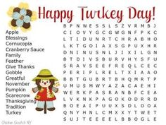 Hard Thanksgiving Word Search Printable for Kids by monimarin