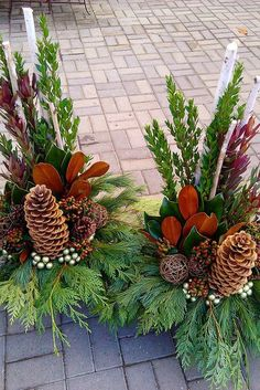 Large pine cones and cedar Christmas Urns, Christmas Planters, Christmas Flowers, Christmas Crafts, Christmas Floral Arrangements, Christmas Centerpieces, Flower Arrangements, Cemetery Decorations, Xmas Decorations