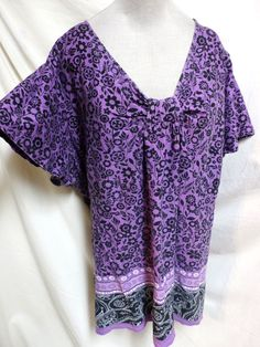 Mainstreet Blues Plus Size Purple & Black Floral Cotton Easy Care Smock Top…