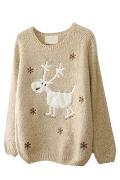 #Beige Womens #Reindeer #Snowflake #Jumper #Ugly #Christmas #Sweater