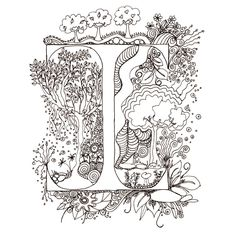 Colour-Me-In Alphabet- A-Z, the whole alphabet in Illuminated Letters, for colouring in, art  drawings by melanie j cook. $65.00, via Etsy.