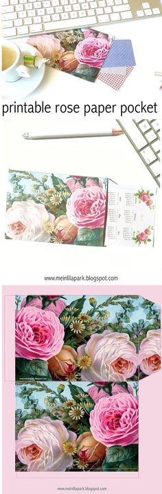FREE printable vintage rose paper pocket!