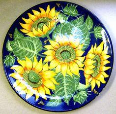 Sunflower platter, an old pattern painted by artist Geoff Graham at Cinnabar Ceramics, Vallejo, CA (Formerly Ukiah, CA)