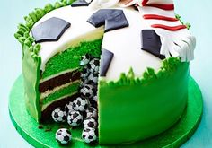Birthday cakes for kids Inspired to make a homemade birthday cake for your little one? Pick your favourite and have a go with our ultimate collection of fun party cake recipes for kids. Soccer Birthday Cakes, Soccer Cake, Themed Birthday Cakes, 8th Birthday Cakes For Boys, Football Theme Birthday, Food Cakes, Cupcake Cakes, Cake Recipes For Kids, Bbc Good Food Recipes